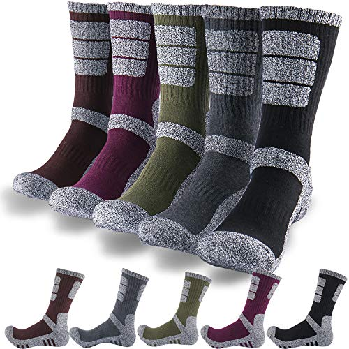 - DEARMY 5Pack of Men's Multi Performance Cushion Outdoor Hiking Crew Socks | Moisture Wicking | Year Round (1 x Black, 1 x Charcoal, 1 x Olive, 1 x Purple, 1 x Brown, Large (Shoe Size: 9-11.5))