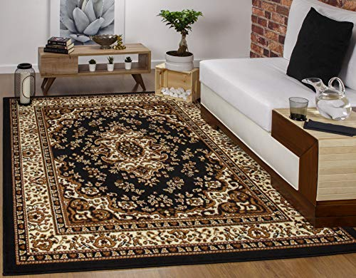 Antep Rugs Kashan King Collection Himalayas Oriental Polypropylene Indoor Area Rug (Black and Beige, 5' x ()