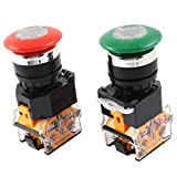 Uxcell a14062300ux0096 DPST NO+NC Red Green Mushroom Cap Emergency Press Stop Switch, 2 Piece, AC 660V, 10 Amp