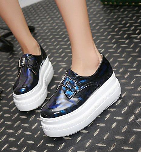 Spectacle Briller Femmes Casual Talon Épais Plate-forme Mocassins Chaussures Bleu