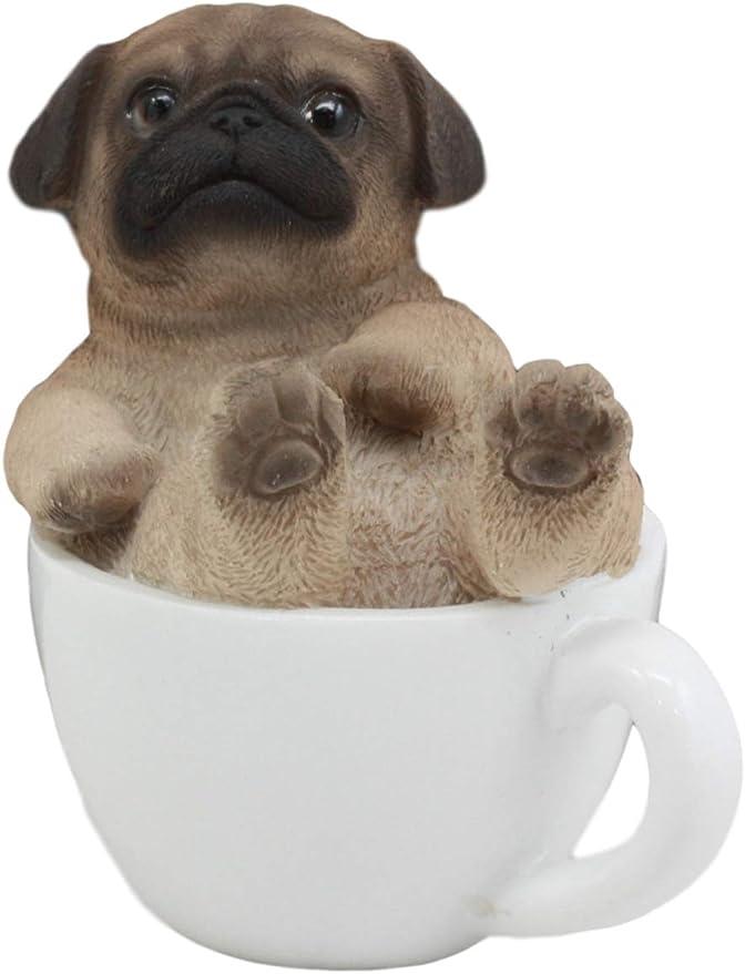 "Ebros 5.5/""H Realistic Animal Sitting Pug Puppy Collectible Home Decor Figurine"