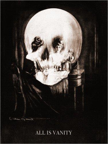 Poster 90 x 120 cm  Alles ist Eitelkeit (Sepia) von Charles Allan Gilbert - hochwertiger Kunstdruck, Kunstposter