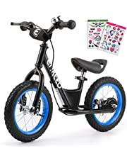 ENKEEO Balance Bike Adjustable Upholstered Seat with No Pedal, Soft Handlebars, Enhanced Tyres, Wide Footrests, Carbon Steel Frame and Stand, Safe and Comfortable for Kids Toddler