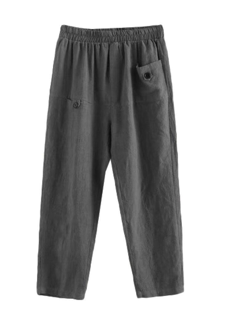 Minibee Women's Elastic Waist Casual Crop Linen Pull On Pants Gray XL