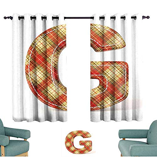 Mannwarehouse Letter G Bedroom windproofcurtain Uppercase G Character Old Fashioned Checkered Plaid Classical Pattern Set of Two Panels 55
