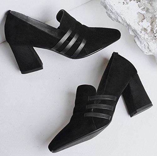 Simple Véritable Tête Taille pour Hauts Talons Noir Ronde Cuir 34 Femmes LGLFRXZ Noir Chaussures Chaussures Printemps à Noir HJHY Confortable Épais Couleur PqSwEBS