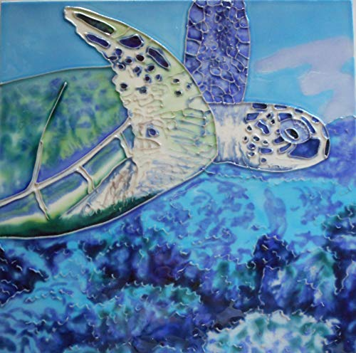 (Turtle Ceramic Art Tile Easel Back 8 x 8 inches)
