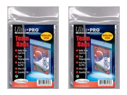 200 Card Set (200 Ultra Pro Standard Team Bags 2 Packs of 100 New Team Set Lot Value Pack)