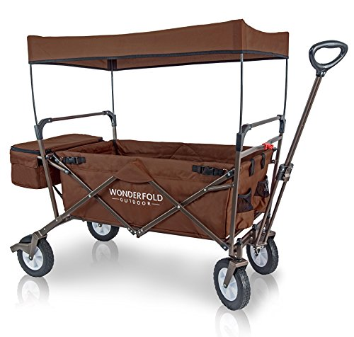 Cheap WonderFold Outdoor All New Collapsible Folding Wagon With Canopy Utility Cart with 180° Steering Telescoping Handle with Spring Bounce, Auto Safety Locks and Stand – BROWN