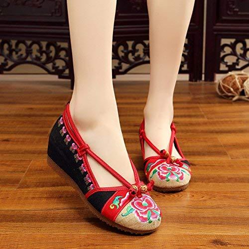 Willsego Bestickte Bestickte Bestickte Schuhe Sehnensohle Ethno-Stil weibliche Stoffschuhe Mode bequem lässig schwarz 39 (Farbe   - Größe   -) 94ff6a