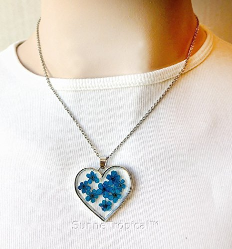 BLUE Heart Forget Me Not Flower love & friendship GOLD plated HEART Pendant Necklace