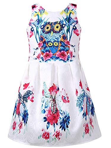 Girl Swing Dresses Owl Little Toddler Sundress Sleeveless 4T Kids Floral Print ()
