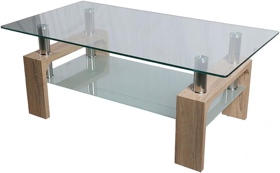 HomeSouth - Mesa de Centro Fija, Cristal Templado Transparente ...