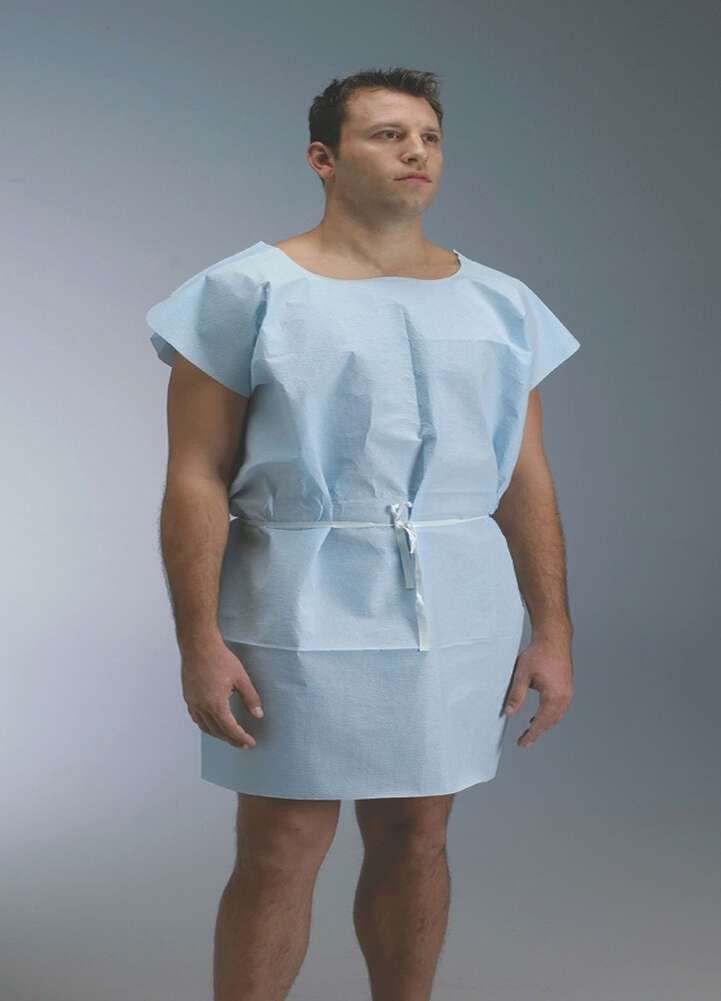 Graham Medical 229 Tissue/Poly/Tissue Gown, 30'' Width, 42'' Length, Blue (Pack of 50)