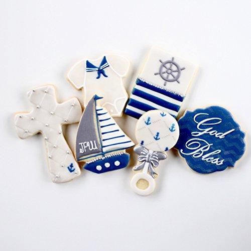 ½ Dz. Baptismal Nautical Baby Cookies! God's Little Fisherman! (Rattle God)