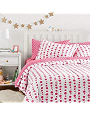 AmazonBasics Easy-Wash Microfiber Kid's Bed-in-a-Bag Bedding Set - Full / Queen, Pink Dotted Line
