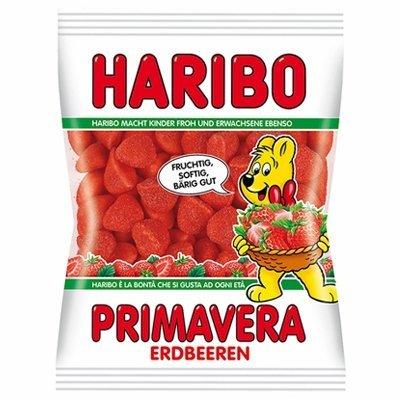 Haribo Primavera Strawberry Gummy Candy -Pack of 6 X 200 - Haribo Strawberry