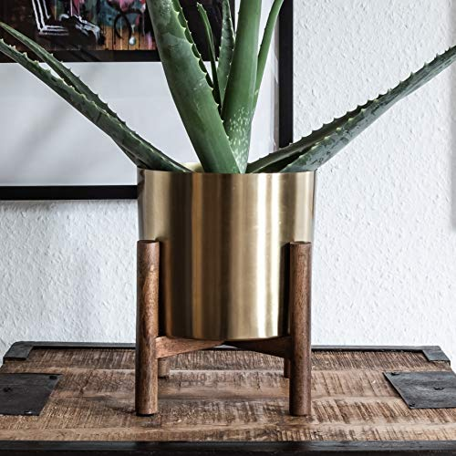 Orchid Sideboard - Kimisty Mid Century Modern Brass Gold Planter with Stand | 7 Inch Large Metal Pot with Mango Wood Plant Stand | Flower Pot Decor for Living Room | for Orchid, Aloe, Large Cactus Plants | Indoor