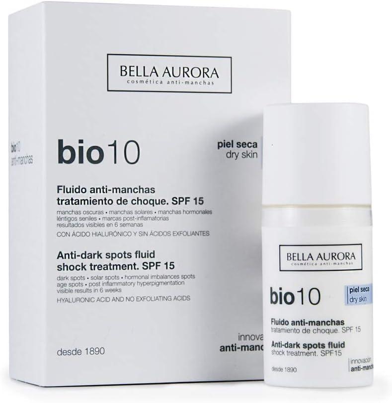 Bella Aurora Bio10 Fluido Antimanchas Piel Seca SPF 15 | Tratamiento despigmentante Facial, 30 ml