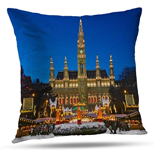 Alricc Vienna Christmas Market Winter Snow Festive Decorative Throw Pillows Cushion Cover for Bedroom Sofa Living Room 18X18 Inches