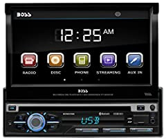 Burn up the miles while listening to hot tunes with the BOSS Audio BV9979B entertainment system. Pop in a DVD/CD, turn on the radio, hook up your smartphone to the Auxiliary input or blast out music from the USB and SD ports. Bluetooth techno...