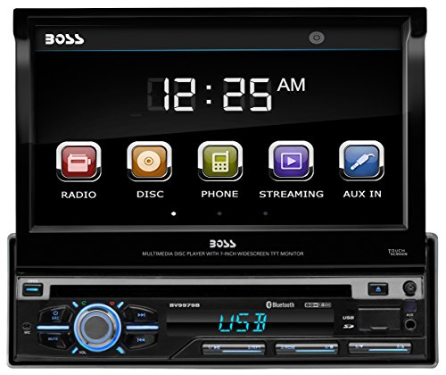 BOSS Audio Systems BV9979B Single Din, Touchscreen, Bluetooth, DVD CD MP3 USB SD AM FM Car Stereo, 7 Inch Digital LCD Monitor, Detachable Front Panel, Wireless Remote, Multi-Color Illumination