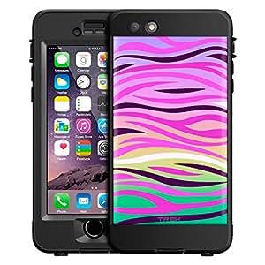 Skin Decal for LifeProof nüüd Apple iPhone 6 Plus Case - Pink Zebra Print on Rainbow
