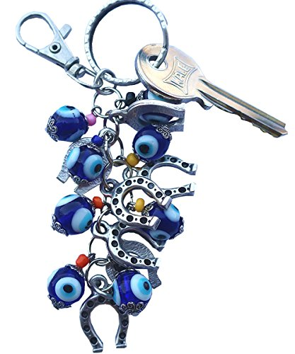 - Bunch of Good Luck Evil Eye Beads Keychain Keyrings Decorative Greek -Turkish … (Horseshoes)