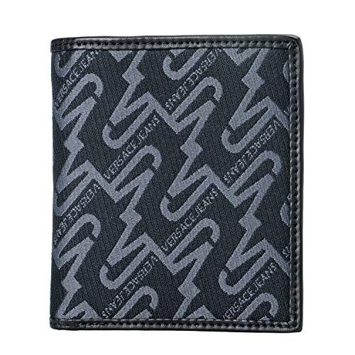 (Versace Jeans Leather Black Printed Men's Wallet)
