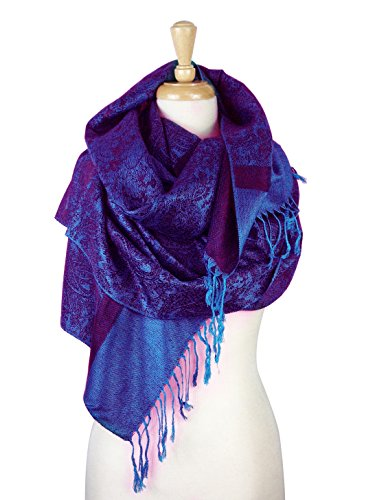 Paskmlna Paisley Jacquard Pashmina Shawl Wrap Scarf Stole (Purple018123)