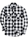 Alimens & Gentle Men's Button Down Regular Fit Long Sleeve Plaid Flannel Casual Shirts Color: White, Size: Large/Tall