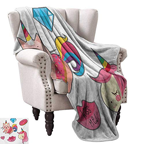 (Unicorn Cat Super Soft Blankets Cute Fantastic Icons for Girls Magical Characters Mythological Mascots Fall Winter Spring Living Room 60