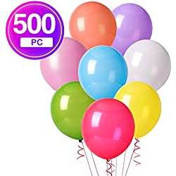 MESHA 12 Inches Assorted Color Party Balloons (500 Pcs)