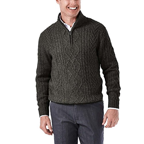 Mock Cable Sweater (Haggar Men's Long Sleeve 1/4 Zip Mock Neck Cable Knit Sweater, Heather Grey, XX-Large)