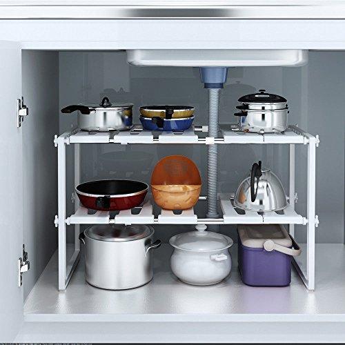 Shelf Organizer Rack Storage Under Sink 2 Tier Expandable Kitchen Tool Holders - USA_Mall by Unknown