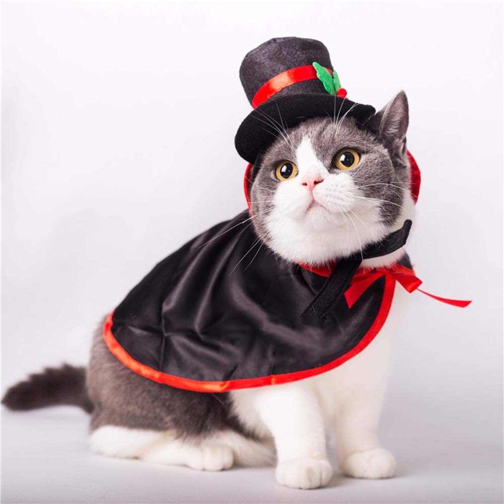 Halloween Pet Black Cape Costume and Hat Christmas Pet Party Apparel Accessories for Small Dogs and Cats. Cacoffay