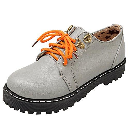 Latasa Womens Lace-up Flat Oxford Shoes Light Gray tKflqYdzNX
