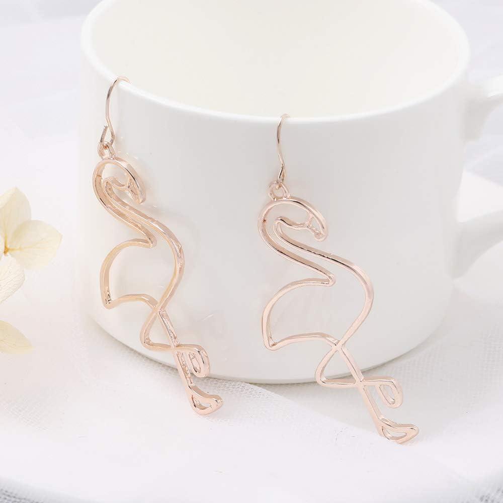 Jovono Boh/ème Alliage de boucles doreille avec pendentif Flamant rose pour les femmes et les filles