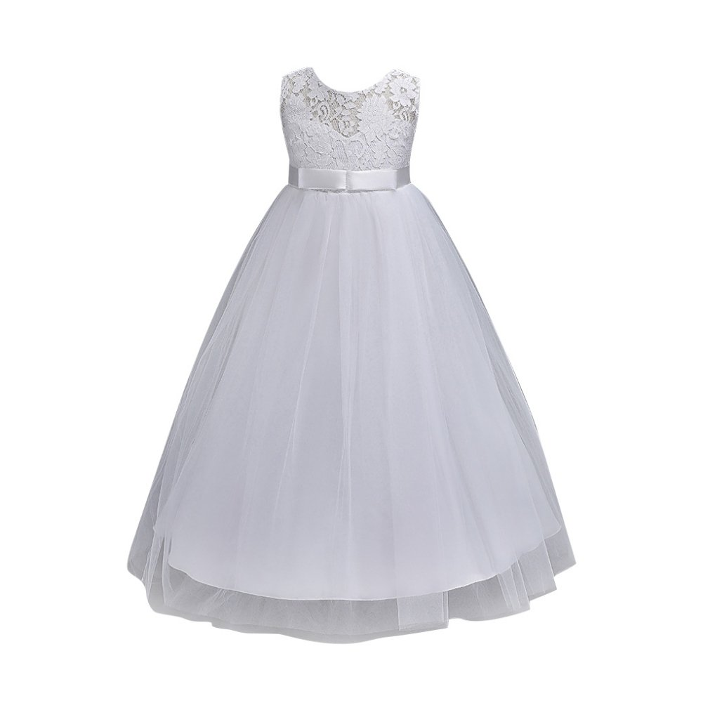 Hougood Girls Prom Dresses Princess Dress Birthday Weddings Bridesmaid Party Fancy Dress Ceremony Formal Dresses Lace Flowers Bowknot Evening Gowns Age 3-14 ...