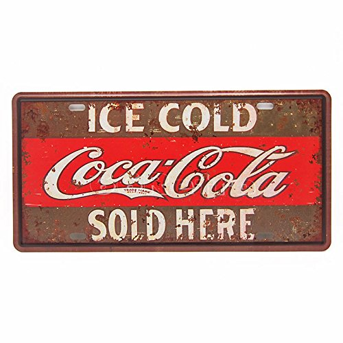 (Ice Cold Coca Cola Sold Here, Embossed Metal Tin Sign, Wall Decorative Sign By)