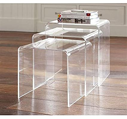 Incroyable Festnight Set Of 3 Modern Nesting End Table Coffee Table Lucite Side Table,  Acrylic