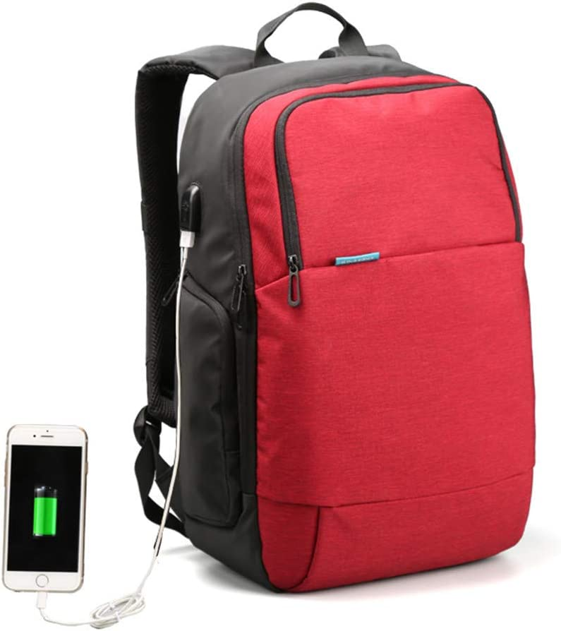 External USB Charge Travel Backpack Anti-Theft Computer Bag 15.6 Inch Solid Men Casual Daypacks Blue