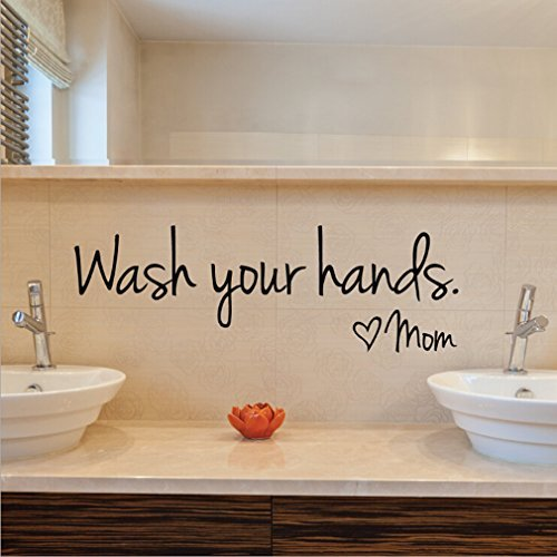 Cheap  Imprinted Designs Wash Your Hands Love Mom Quote Bathroom Wall Stickers Waterproof..