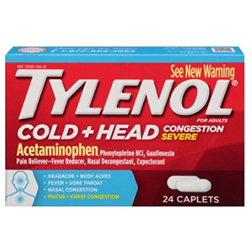Tylenol Head + Cold Severe Congestion 24ct - Pack of 3