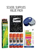 SCHOOL SUPPLIES VALUE PACK-Includes: Dixon #2 HB Pencils Box of 12, Double Holed Pencil sharpener, Mead Composition Book with Wide Rule 100 Sheet, 15 Pc eraser, Elmer's School Glue Sticks 4PK