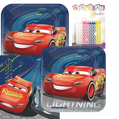 Lobyn Value Pack Cars 3 Party Plates and Napkins Serves 16 with Birthday -