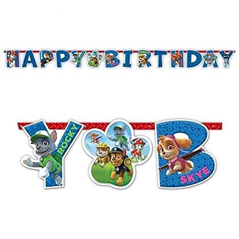Patrulla Canina - Guirnalda de cartón, feliz cumpleaños (Amscan 999139)