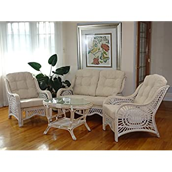 rattan wicker living room set pieces lounge chair sofa coffee table white wash cream cushions tables sets