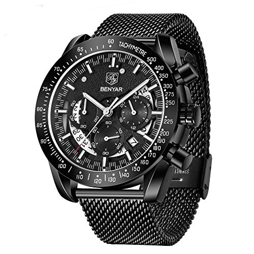 Prime Sale Day Mens Waterproof Chronograph Analog Watch-BENYAR Luxury Business Dress Watch Perfect for Birthday Gift for Men