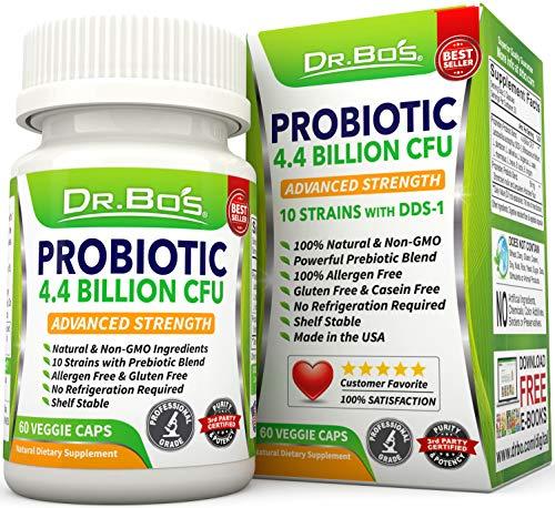 Vegan Probiotics - Dr. Bos Multi Probiotic for Women, Men and Kids - Daily Dairy Free Supplement with Natural Acidophilus, Bifidobacterium, Prebiotics and Oral Capsules - Non Refrigerated Flora Pills